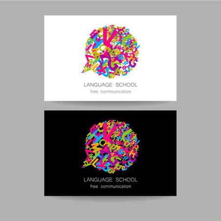 language school: Concept business card design for Language School, translation, linguistic center, language teachers, international communication club. Vector.