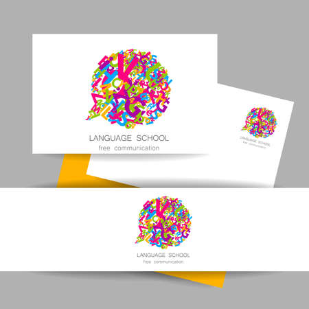 talking dictionary: Concept identity presentation design for Language School, translation, linguistic center, language teachers, international communication club. Vector.
