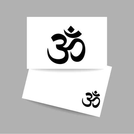 hinduism: Om - hinduism symbol. Concept business card design for yoga studio, meditation center. Vector graphic illustration.