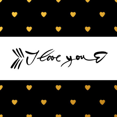 motto: I LOVE YOU as a symbol of the arrows of Cupid. I love you - hand lettering. Concept design for greeting card: Valentines day, Love letter, Wedding invitation. Hand drawn calligraphy.