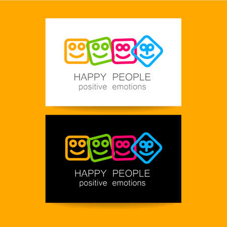 happy business team: Concept business card design for company. Positive emotions, happy games, entertainment sphere, unity emblem, happy people team, society fund and etc. Vector.
