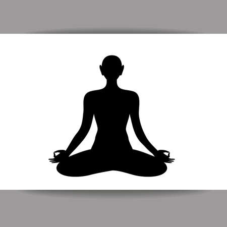 care symbol: Silhouette of meditating person. Yoga, Health Care, Beauty, Spa, Relax, Meditation, Nirvana concept symbol. Vector graphic illustration.