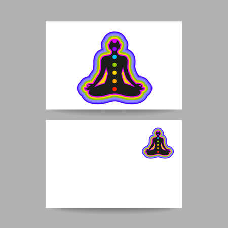 vishuddha: Human silhouette meditating with chakras and aura. Concept business card design for Yoga studio, Ayurveda center, Spa, Relax, Meditation club. Vector graphic illustration.
