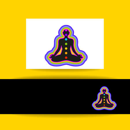 vishuddha: Yoga Lotus. Human silhouette meditating with chakras and aura. Concept identity presentation for Yoga studio, Ayurveda center, Health Care, Meditation club. Vector graphic illustration.
