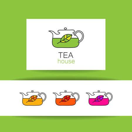 tea kettle: Tea house. Concept identity presentation for tea shop, restaurant, cafe, menu. Vector graphic illustration.