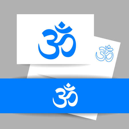 hinduism: OM - s�mbolo de hinduismo. dise�o de la presentaci�n de identidad concepto de estudio de yoga, centro de meditaci�n. Vector ilustraci�n gr�fica.