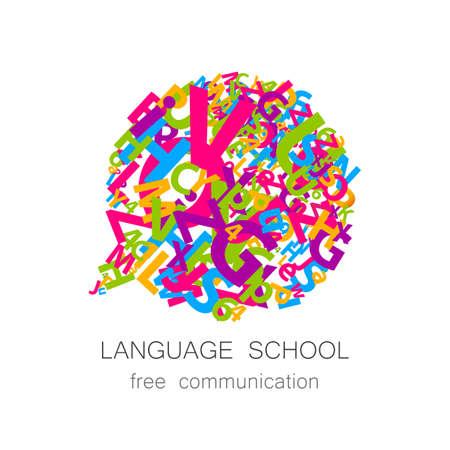 Diseño para la escuela de idiomas, traducción, lingüística centro, los profesores de idiomas, club de la comunicación internacional. Vector.