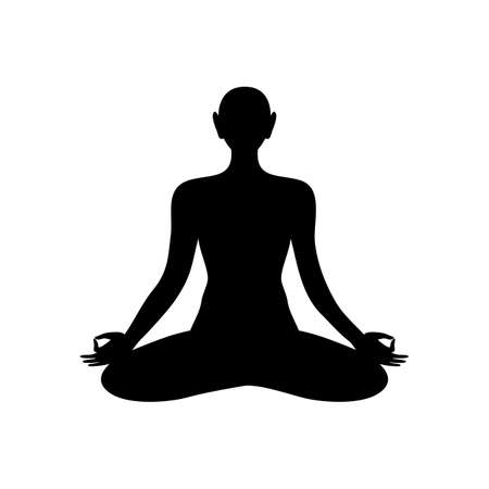 harmony idea: Silhouette of meditating person. Yoga, Health Care, Beauty, Spa, Relax, Meditation, Nirvana concept symbol. Vector graphic illustration.