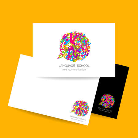 linguistic: Concept business card design for Language School, translation, linguistic center, language teachers, international communication club. Vector.