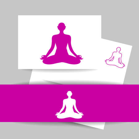 itc: Yoga Lotus. Silhouette of meditating person. Concept Identity presentation design for Yoga studio, Health Care center, Beauty salon, Spa, Relax, Meditation and itc. Vector graphic illustration.