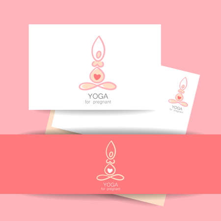 pregnancy yoga: Yoga for pregnant women. Concept identity presentation for Yoga studio and classes for pregnant women. Vector graphic illustration.