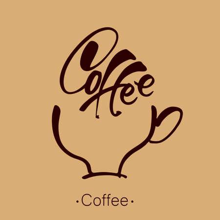 Café. Caractères. Tasse à café et modèle d'inscription manuscrite. Vector illustration. Vecteurs