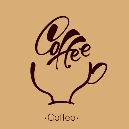 Coffee. Lettering. Coffee cup and handwritten inscription template. Vector illustration. Vetores