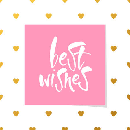 regards: BEST WISHES. Lettering.Best wishes inscription template.Greeting card with calligraphy.Vector typography template for banner, poster or postcard.