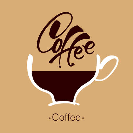 advertising signs: Coffee. Lettering. Coffee cup and handwritten inscription. Design template for advertising posters, signs, posters, labels, badges, cards cafe, shop, bar. Vector illustration. Illustration