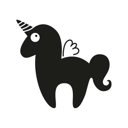 Unicorn. Magic horse with horn and wings. Unicorn silhouette on background. Vector illustration. Vettoriali