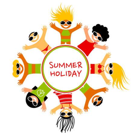 enfant maillot de bain: Vacances d'été. Des enfants heureux de différentes nationalités reposent sur la plage de la mer. Vector illustration. Illustration