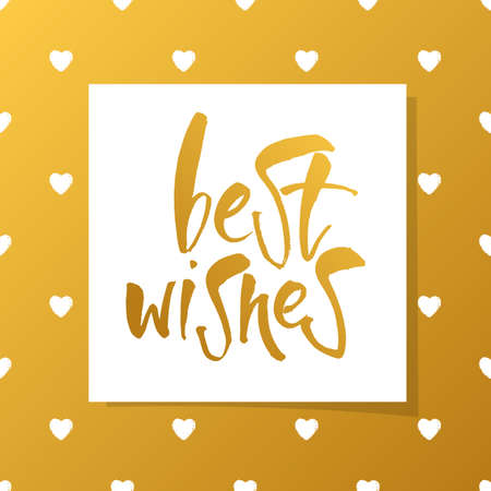 regards: BEST WISHES. Lettering.Best wishes inscription template.Greeting card with calligraphy.Hand drawn lettering design.Vector typography template for banner, poster or postcard. Illustration