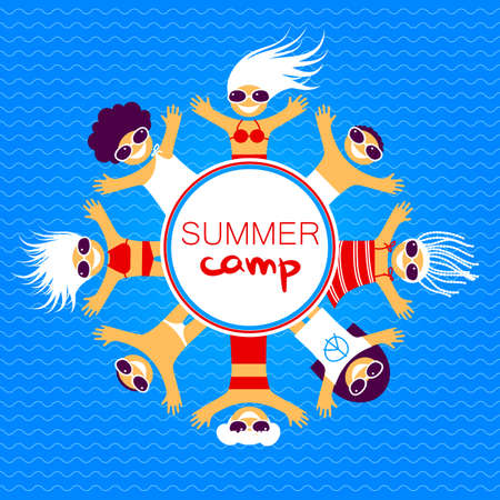 international students: Summer camp. Happy kids in bathing suits, sunglasses, swimming trunks sunbathing on the sea beach.. Vector illustration. Illustration
