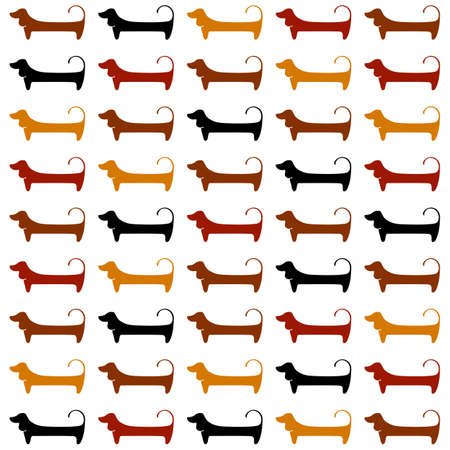 cute dogs: Dachshunds. Pattern. Cute dogs silhouettes. Vector illustration.