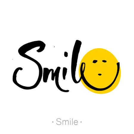 SMILE. Hand-drawn lettering of a phrase Smile. T-shirt hand lettered calligraphic design. Smile font design, graphic. Vector illustration. Illustration