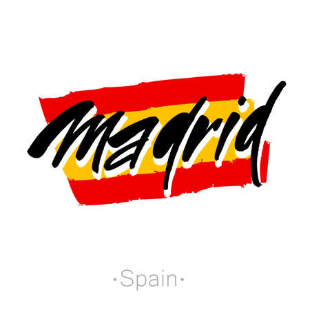 madrid: Madrid hand-lettering calligraphy and national Spain flag. Madrid hand drawn vector stock illustration. Modern brush ink. Isolated on white background. Illustration