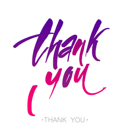 THANK YOU. Handwritten color brush pen lettering isolated on white background.  Thank you lettering handmade calligraphy. Vector illustration. Illustration