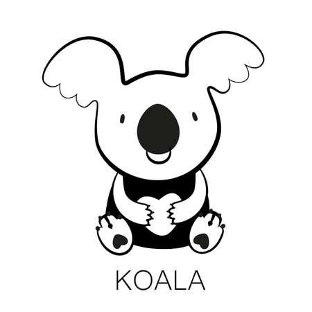 marsupial: KOALA. Bear with heart in his paws.  Australian marsupial bear. Vector Illustration. Illustration