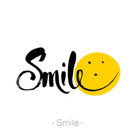 Smile. Unique typography poster. Inspirational typography. Hand lettering, calligraphy banners, labels, signs, prints, posters, the web. Vector illustration. Illustration