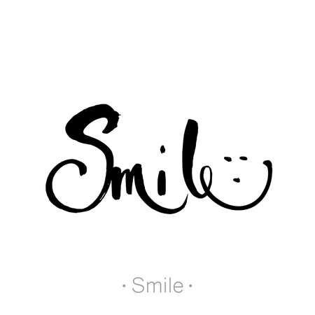 SMILE. T-shirt design. Inspirational quote. Hand lettering, calligraphy in style banners, labels, signs, prints, posters, the web. Vector illustration.