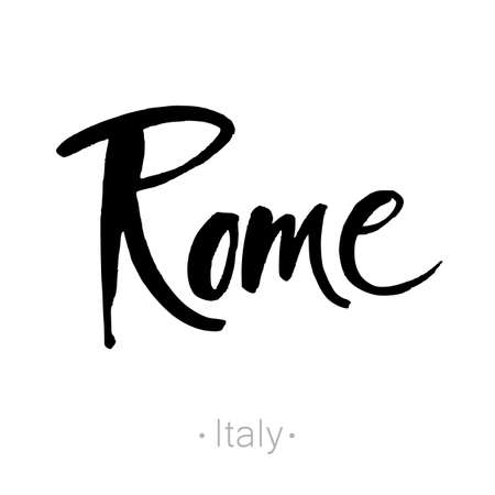 rome: Rome, Italy hand-lettering calligraphy. Rome hand drawn vector stock illustration. Modern brush ink. Isolated on white background.