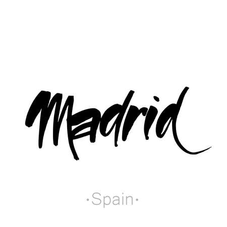 madrid: Madrid, Spain hand-lettering calligraphy. Madrid hand drawn vector stock illustration. Modern brush ink. Isolated on white background. Illustration
