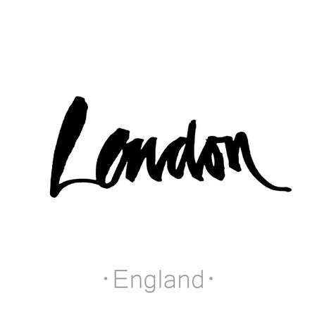 london england: London, England, UK hand-lettering calligraphy. London hand drawn vector stock illustration. Modern brush ink. Isolated on white background.
