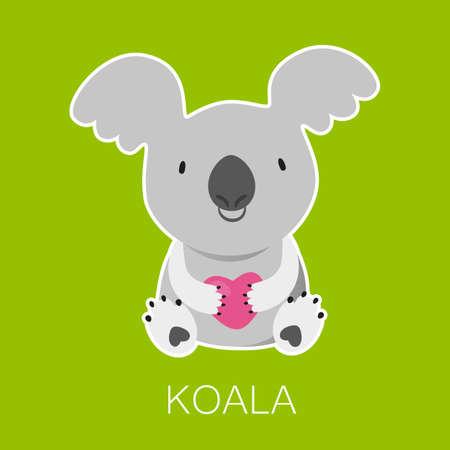 marsupial: Koala Bear with heart. Australian marsupial bear. Vector Illustration.