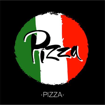 restaurante italiano: PIZZA mano-letras de la caligrafía. pizza italiana - plantilla de diseño para pizzerías, restaurantes, cafeterías, marca, logotipo, Pizzafest. vector dibujado a mano ilustración. la tinta del cepillo moderno.