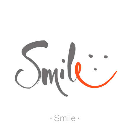 typography: SMILE. Hand-drawn lettering of a phrase Smile. Unique typography poster. T-shirt design. Inspirational quote.   Vector illustration.
