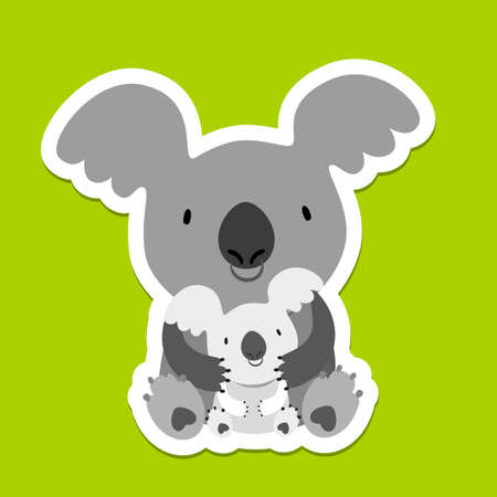 koala bear: Koala Bear. Australian marsupial bear. Mom and baby. Vector Illustration.