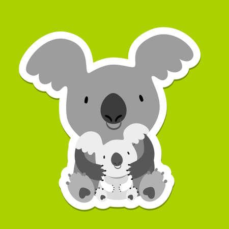 marsupial: Koala Bear. Australian marsupial bear. Mom and baby. Vector Illustration.
