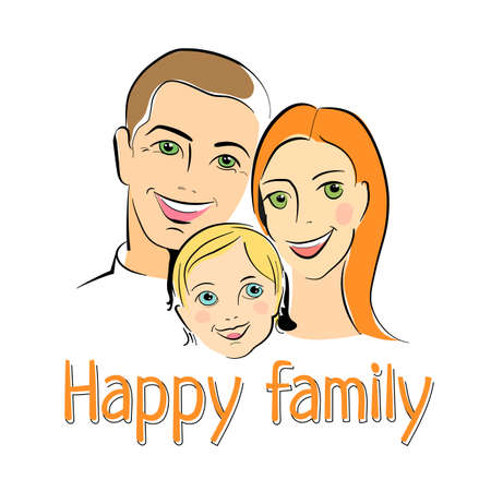 happy smile: Happy family with smile. Parents and children. Vector illustration. Illustration