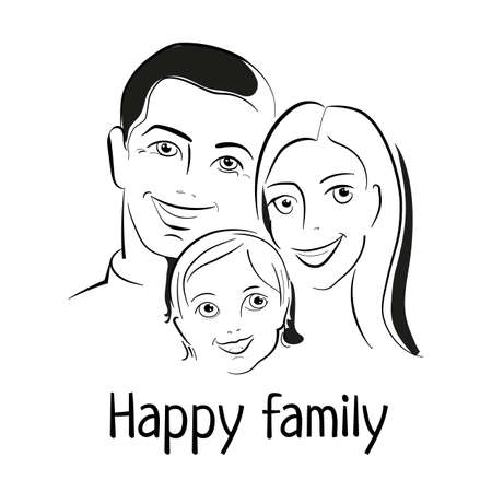 mom dad: FAMILIA FELIZ. Padre, madre e hijo juntos. Bosquejo de Retrato de la familia. Ilustración del vector.
