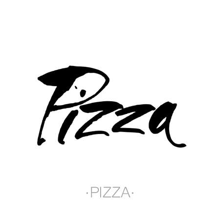 inscription: PIZZA hand-lettering calligraphy. Pizza hand drawn vector stock illustration. Modern brush ink. Isolated on white background.