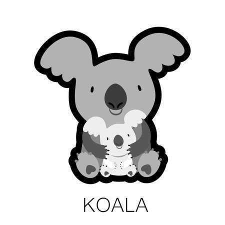marsupial: KOALA. Mom hugging baby. Australian marsupial bear. Vector Illustration.