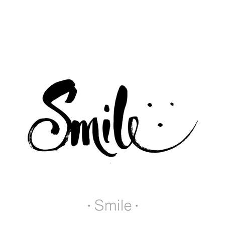 poster design: SMILE. Hand-drawn lettering of a phrase Smile. Unique typography poster. T-shirt design. Inspirational quote.   Vector illustration.