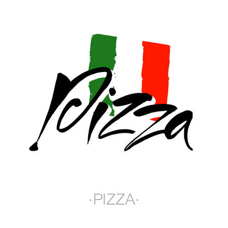 inscription: PIZZA hand-lettering calligraphy. Italian pizza - design template for pizzerias, restaurants, cafes, brand name, pizzafest. Hand drawn vector stock illustration. Modern brush ink. Illustration