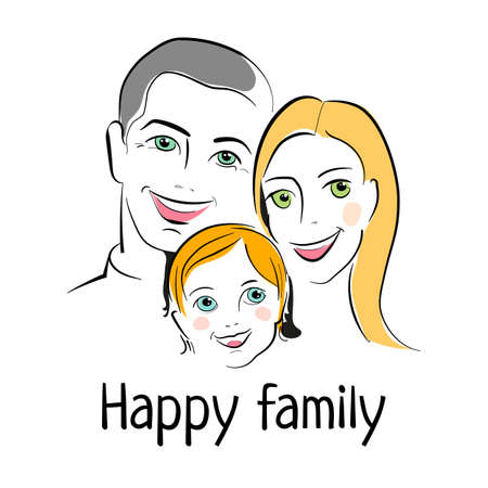 happy woman: HAPPY FAMILY. Father, mother and child together. Sketch of Family portrait. Vector illustration. Illustration