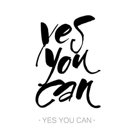 yes you can: YES YOU CAN. Inspirational motivation quote design. Hand lettering. Modern calligraphy for t-shirt print, banner, card. Hand written calligraphy, brush painted letters. Vector illustration.