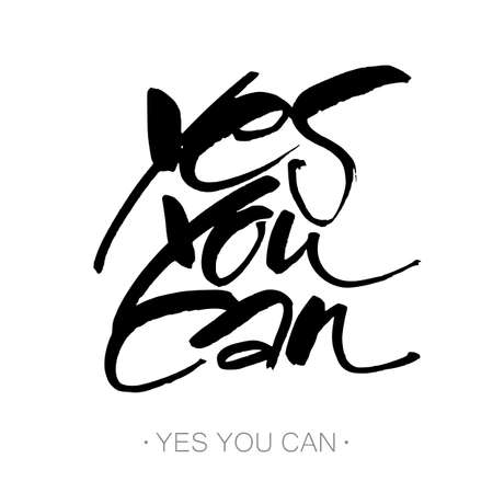 YES YOU CAN. Inspirational motivation quote design. Hand lettering. Modern calligraphy for t-shirt print, banner, card. Hand written calligraphy, brush painted letters. Vector illustration.