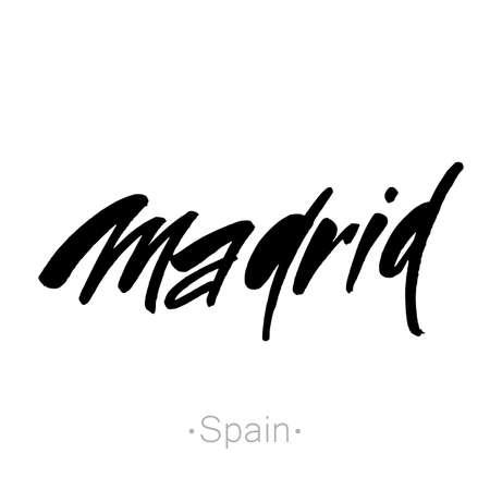 madrid spain: Madrid, Spain hand-lettering calligraphy. Madrid hand drawn vector stock illustration. Modern brush ink. Isolated on white background. Illustration