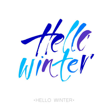 Print design: Hello winter text.  letters. Inspirational poster, print, clothing design. template. Illustration