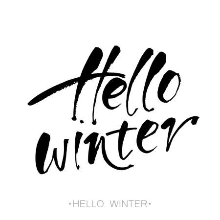 HI: Hello winter text. letters. Inspirational poster, print, clothing design. template. Illustration